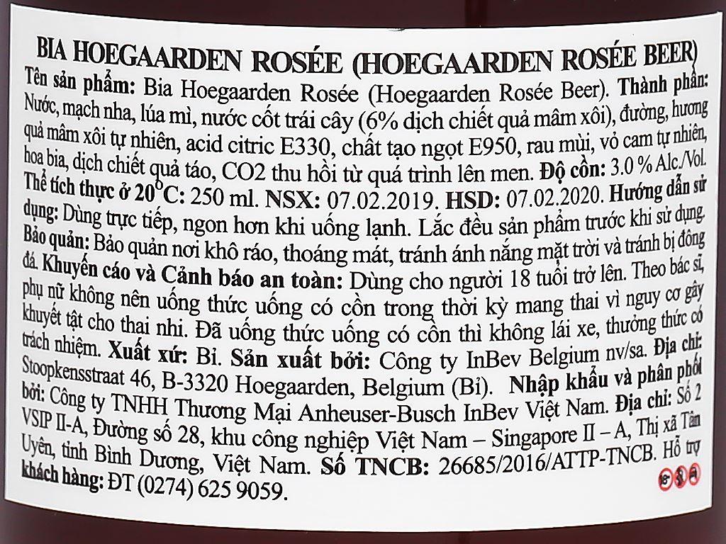 6 chai Hoegaarden Rosee 250ml 3