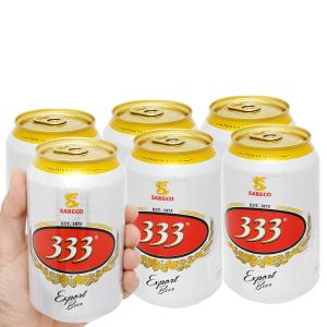6 lon bia 333 330ml