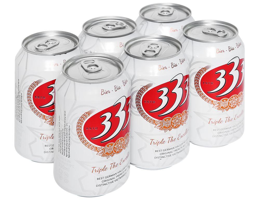 6 lon bia 333 330ml 1