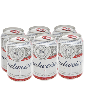 6 lon bia Budweiser 330ml