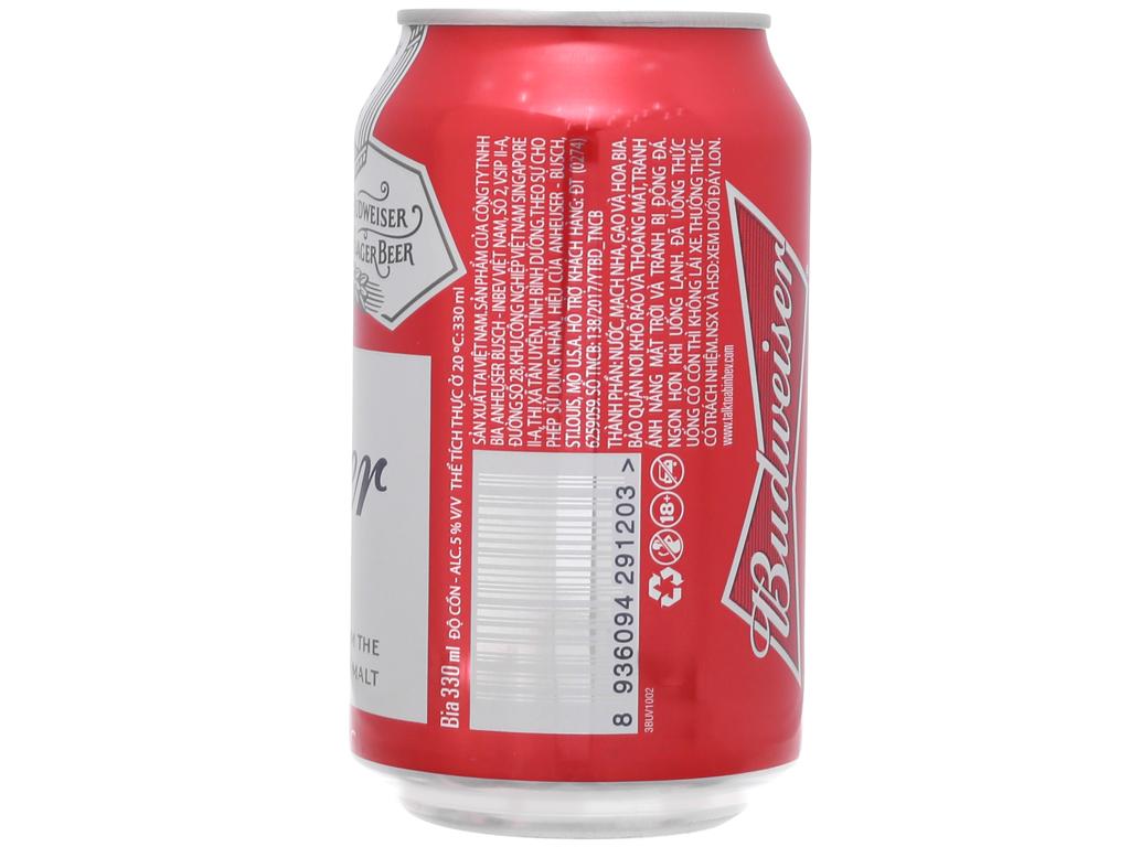 6 lon bia Budweiser 330ml 3