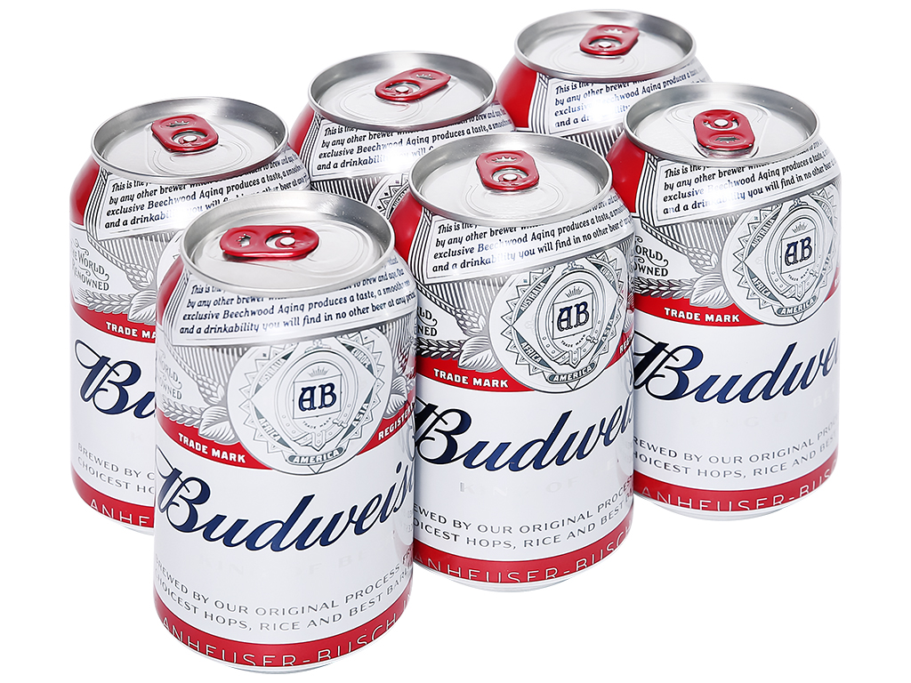 6 lon bia Budweiser 330ml 1