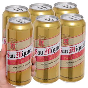 Lốc 6 lon bia San Miguel Pale Pilsen 500ml