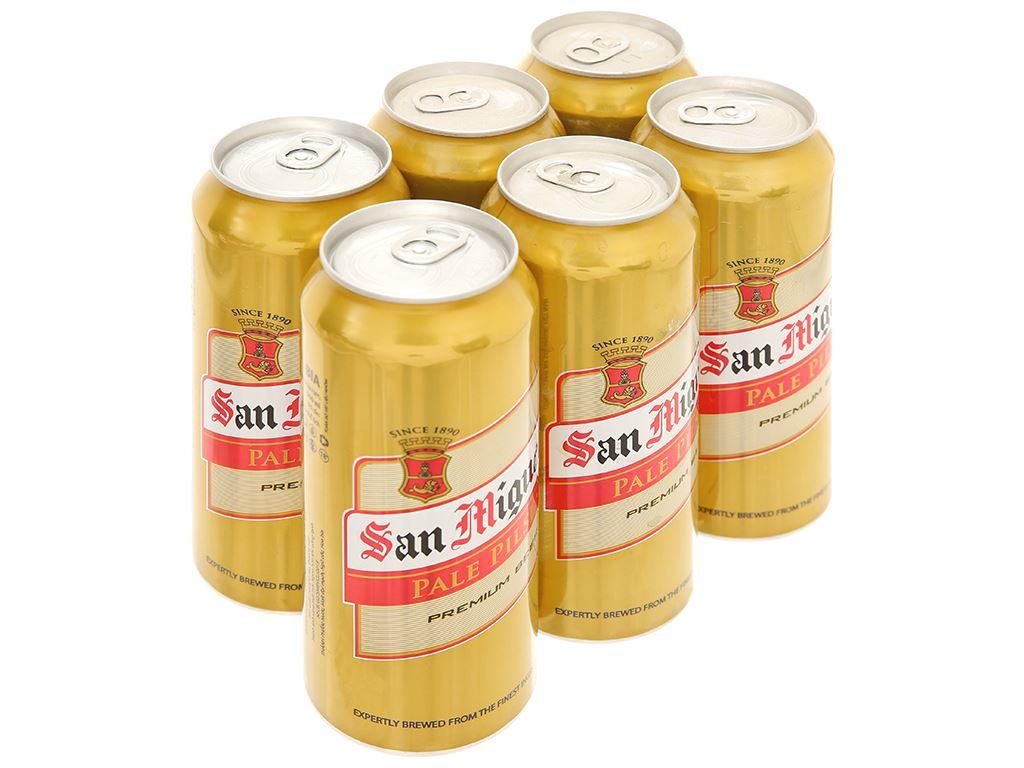 6 lon bia San Miguel Pale Pilsen 500ml 1