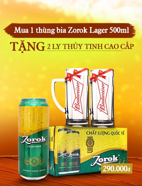 Thùng 20 lon bia Zorok Lager 500ml