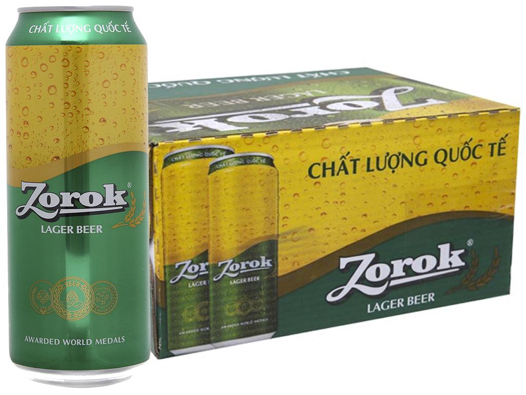 Thùng 20 lon bia Zorok Lager 500ml 1