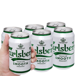 6 lon bia Carlsberg Smooth Draught 330ml