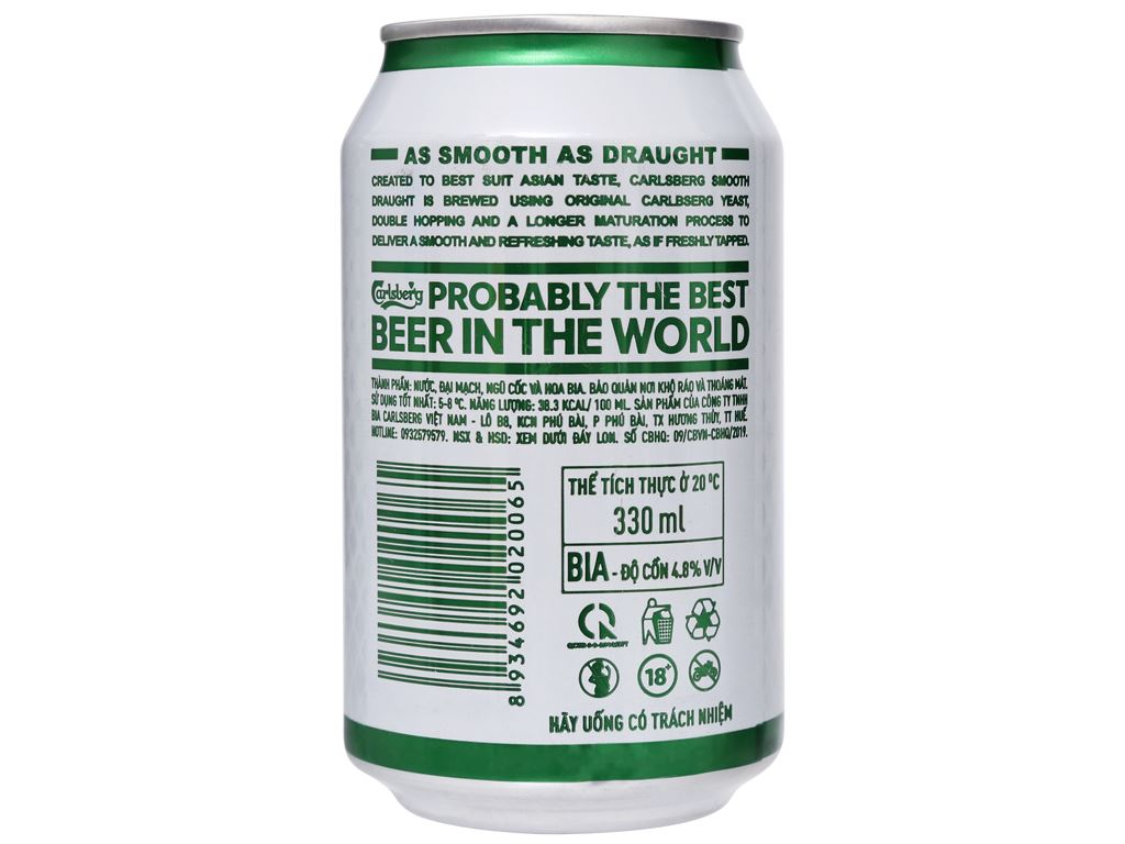 6 lon bia Carlsberg Smooth Draught 330ml 7