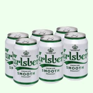 6 lon bia Carlsberg Smooth Draught 330ml