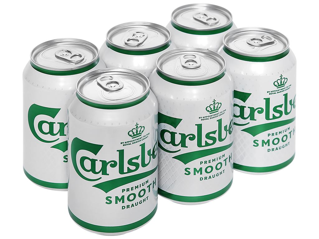 6 lon bia Carlsberg Smooth Draught 330ml 1