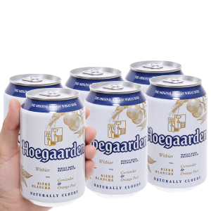 6 lon Hoegaarden White 330ml