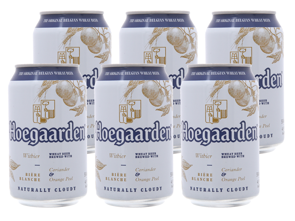 6 lon Hoegaarden White 330ml 1