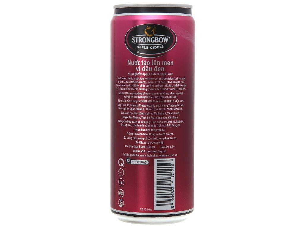 4 lon Strongbow dâu đen 330ml 2