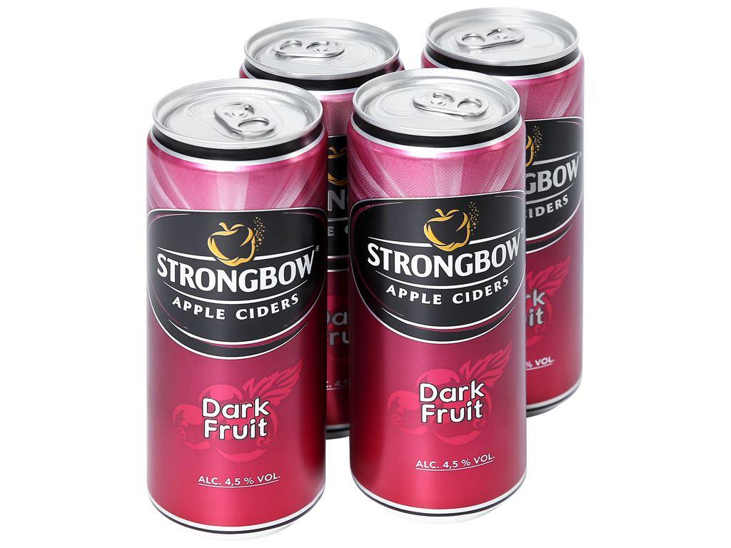 4 lon Strongbow dâu đen 330ml 1