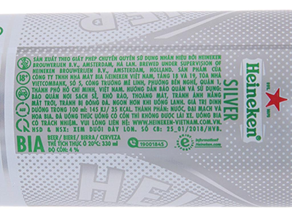 Thùng 24 lon bia Heineken Silver 330ml 4