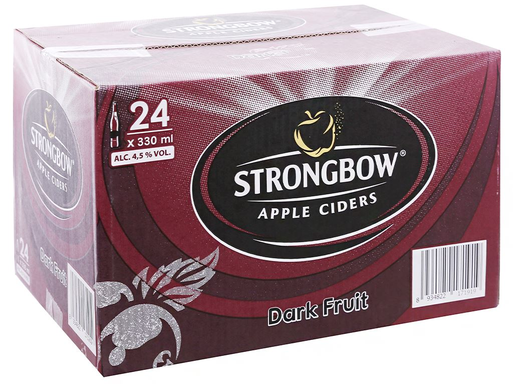 Thùng 24 chai Strongbow dâu đen 330ml 1