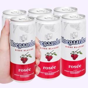 6 lon bia Hoegaarden Rosée 330ml