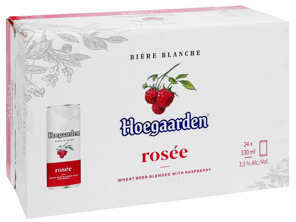 Thùng 24 lon bia Hoegaarden Rosée 330ml 1