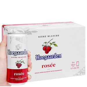 Thùng 24 lon bia Hoegaarden Rosée 330ml