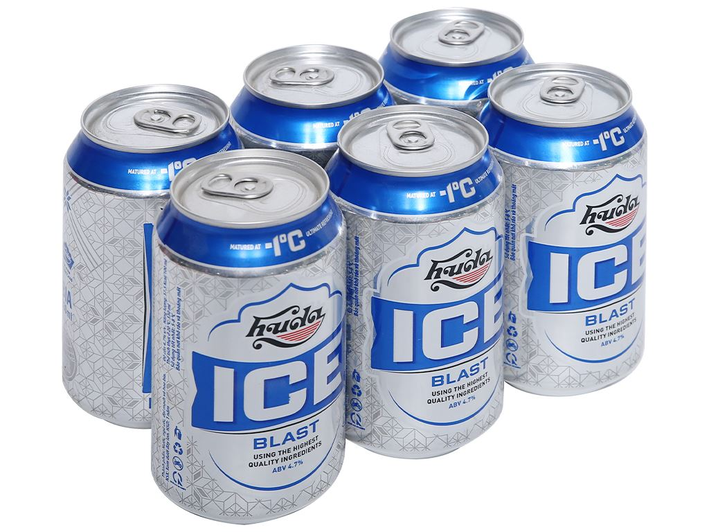 6 lon bia Huda Ice Blast 330ml 1