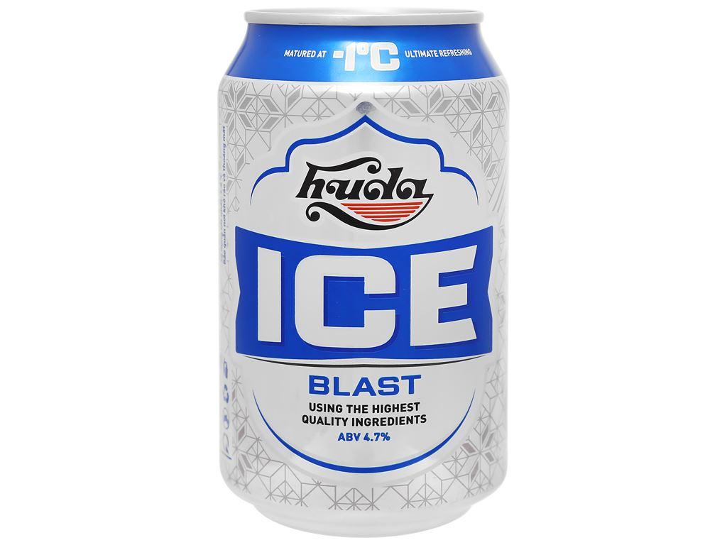 Thùng 24 lon bia Huda Ice Blast 330ml 2