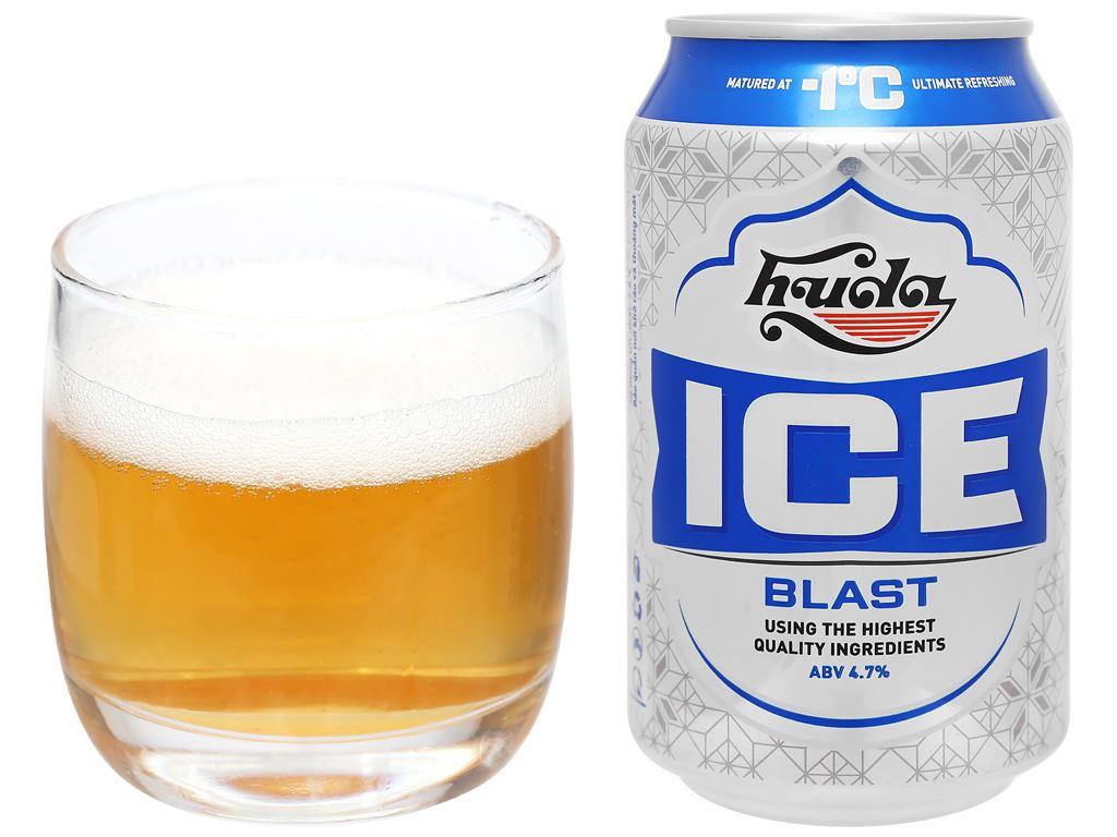 Thùng 24 lon bia Huda Ice Blast 330ml 6
