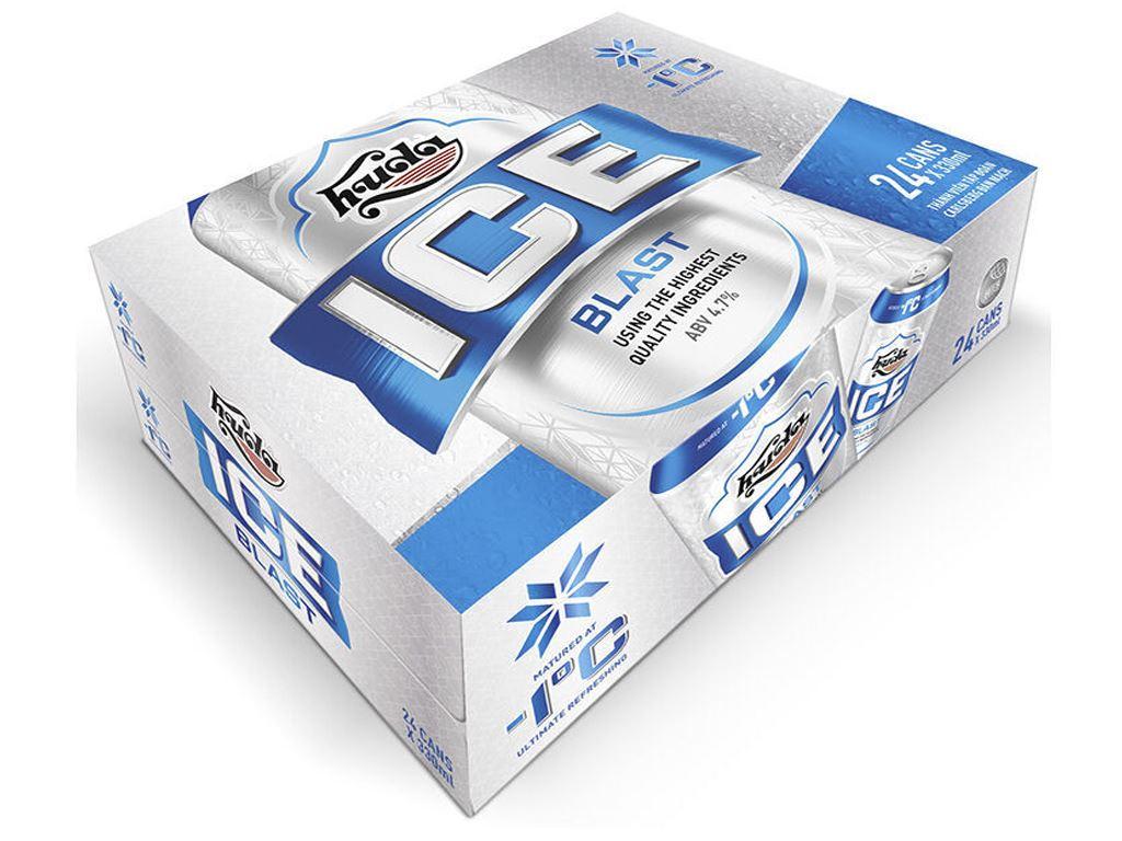 Thùng 24 lon bia Huda Ice Blast 330ml 1