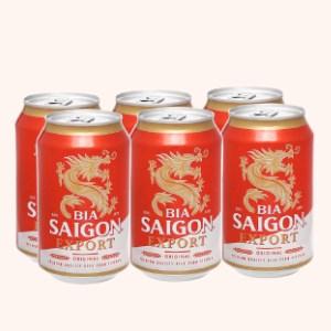 6 lon bia Sài Gòn Export 330ml