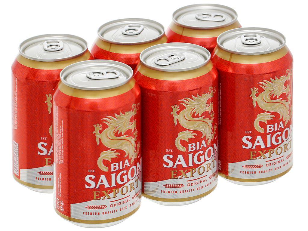 6 lon bia Sài Gòn Export 330ml 1