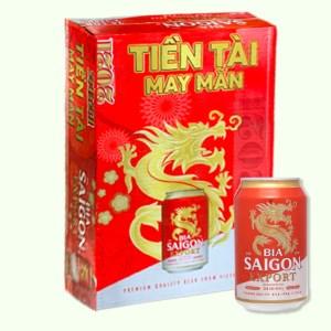 Thùng 24 lon bia Sài Gòn Export 330ml
