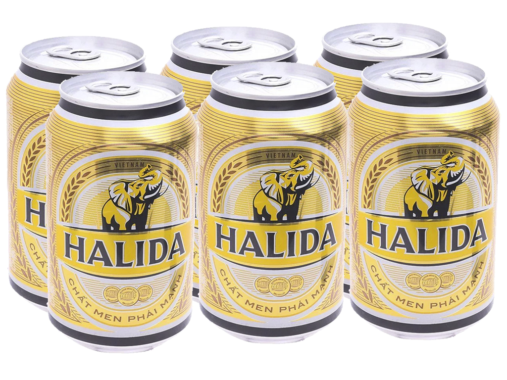 6 lon bia Halida 330ml 1
