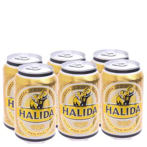6 lon bia Halida 330ml