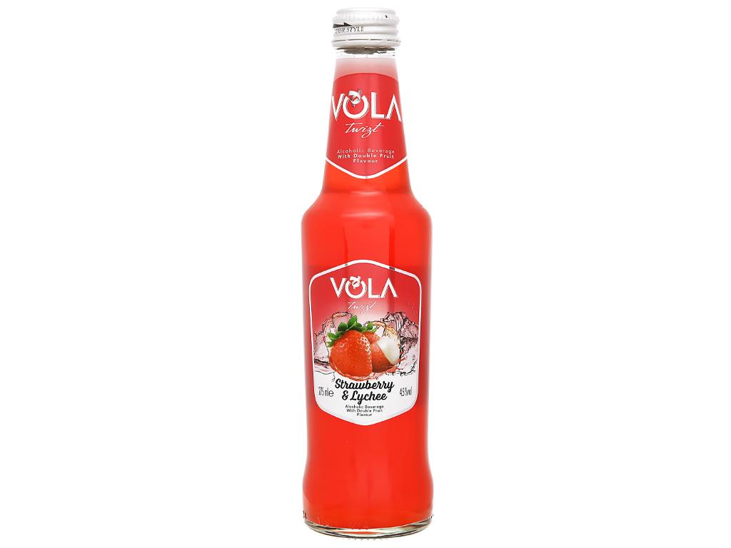 Nước trái cây lên men Vola Twist Strawberry & Lychee chai 275ml 1