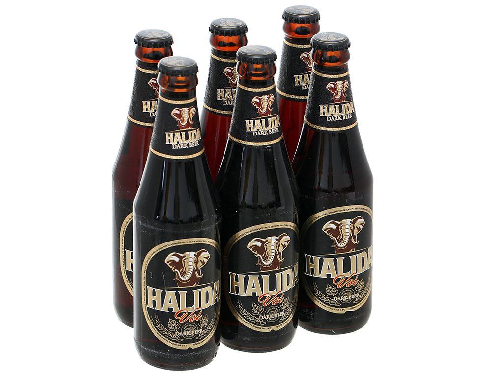 6 chai bia đen Halida 355ml 1