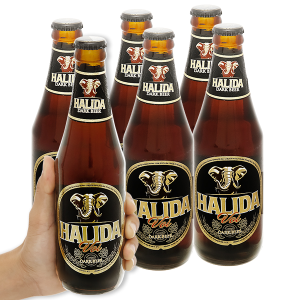 6 lon Bia đen Halida 355ml