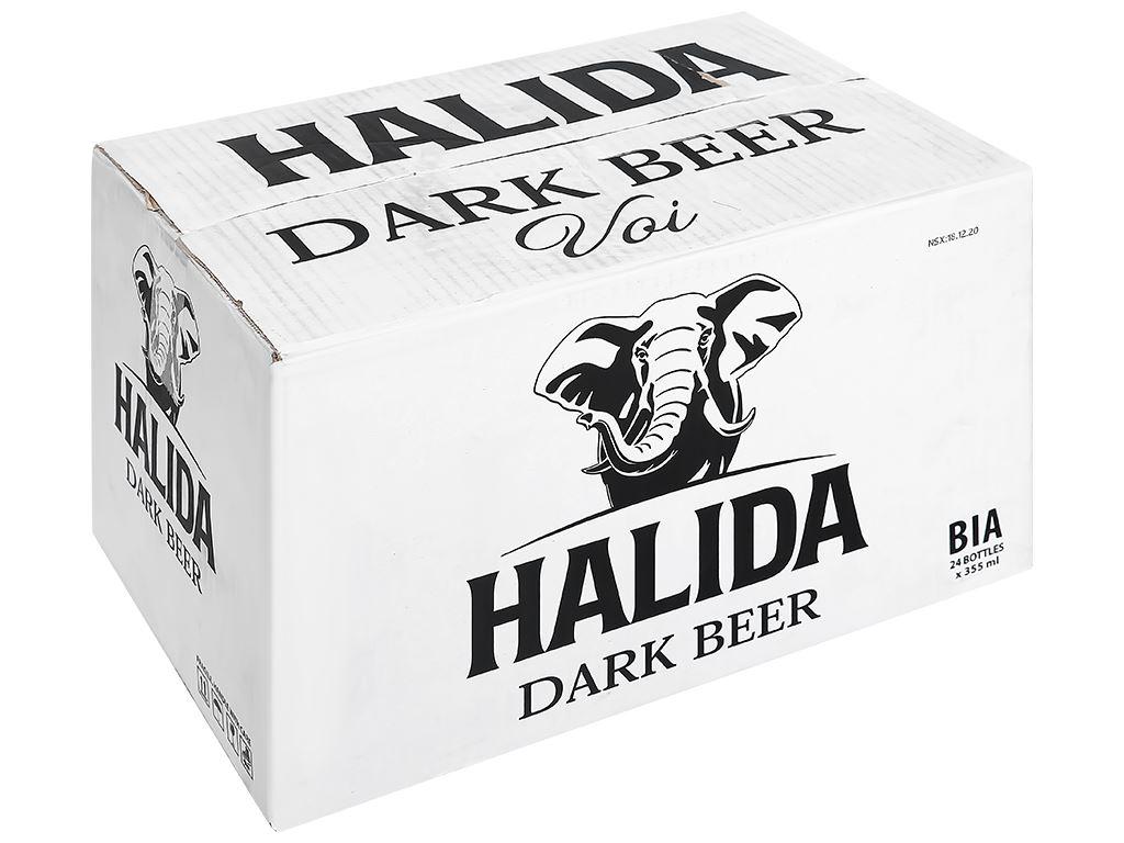 Thùng 24 chai bia đen Halida chai 355ml 1