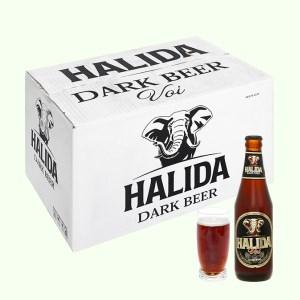 Thùng 24 chai bia đen Halida chai 355ml