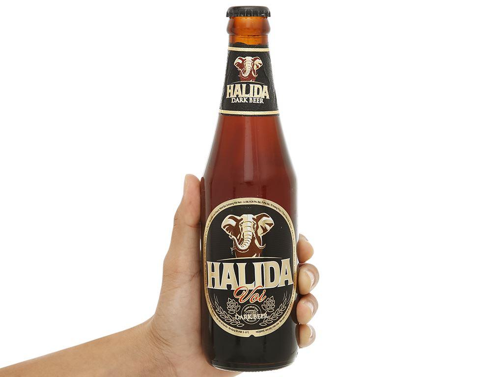 Thùng 24 chai bia đen Halida chai 355ml 4