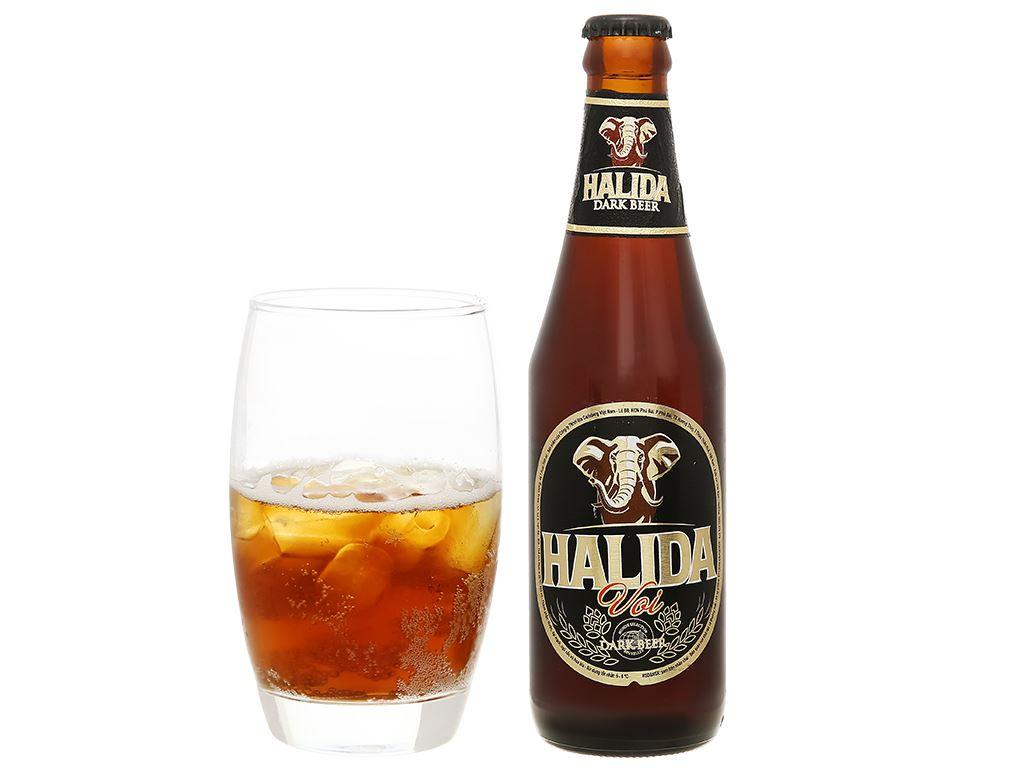 Thùng 24 chai bia đen Halida chai 355ml 5