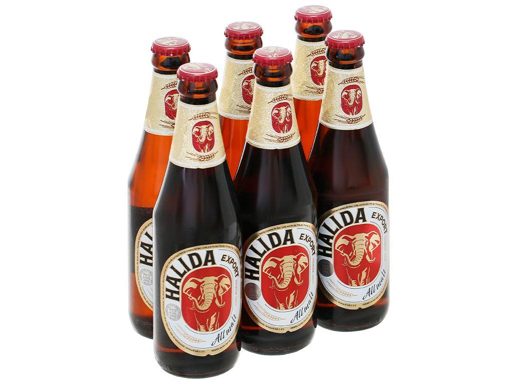 6 chai bia Halida Export Lager All Malt 355ml 1