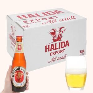 Thùng 24 chai bia Halida Export Lager All Malt 355ml