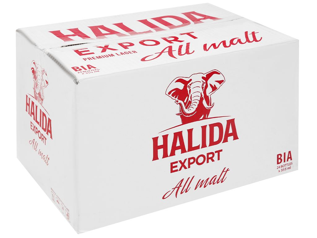 Thùng 24 chai bia Halida Export Lager All Malt 355ml 1