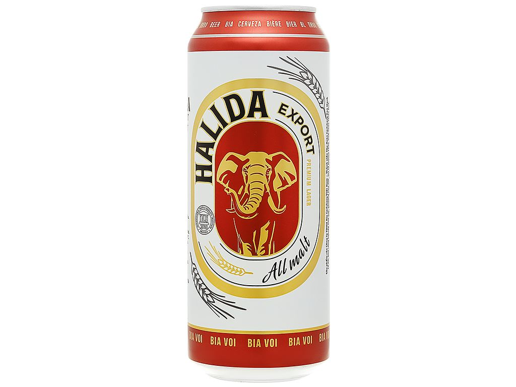 6 lon bia Halida Export Lager All Malt 500ml 2