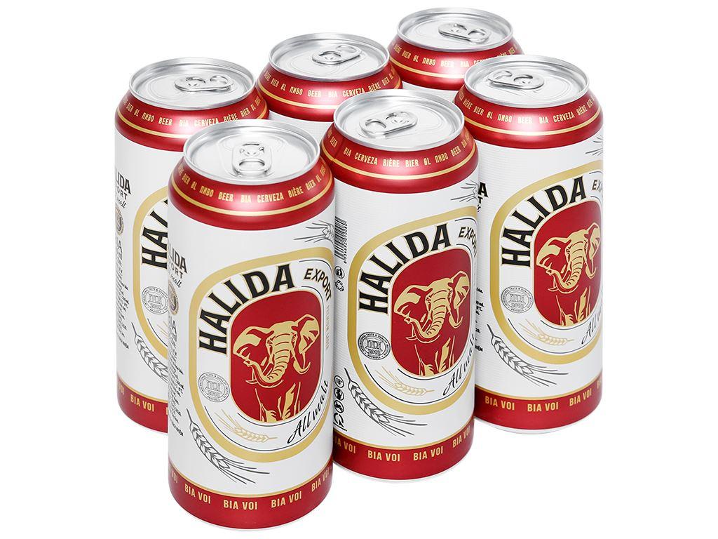 6 lon bia Halida Export Lager All Malt 500ml 1