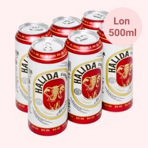 6 lon bia Halida Export Lager All Malt 500ml