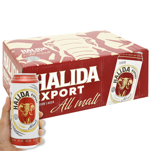Thùng 24 lon bia Halida Export Lager All Malt 500ml