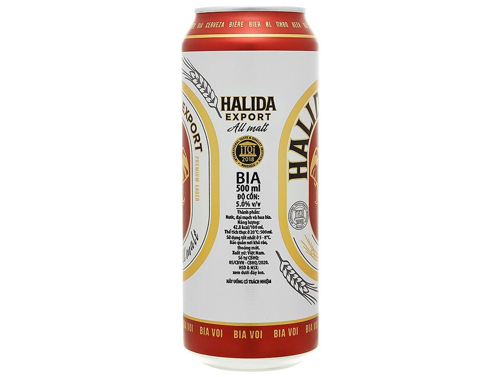 Thùng 24 lon bia Halida Export Lager All Malt 500ml 5