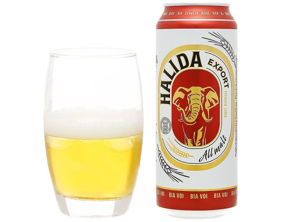 Thùng 24 lon bia Halida Export Lager All Malt 500ml 8