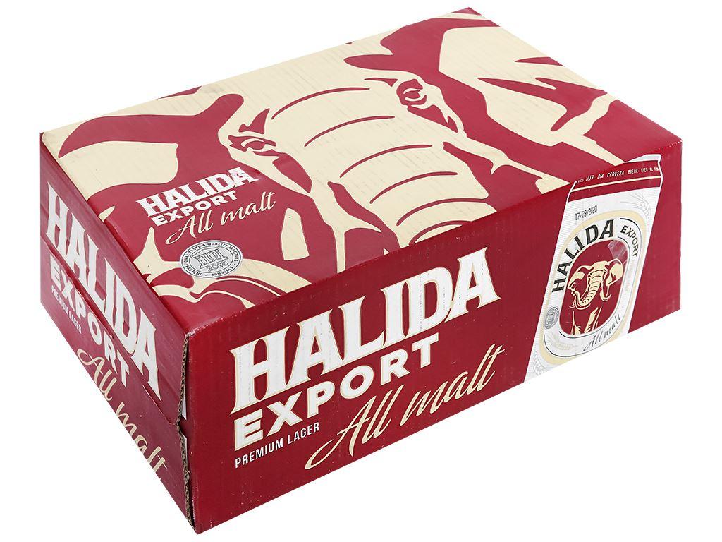 Thùng 24 lon bia Halida Export Lager All Malt 500ml 1