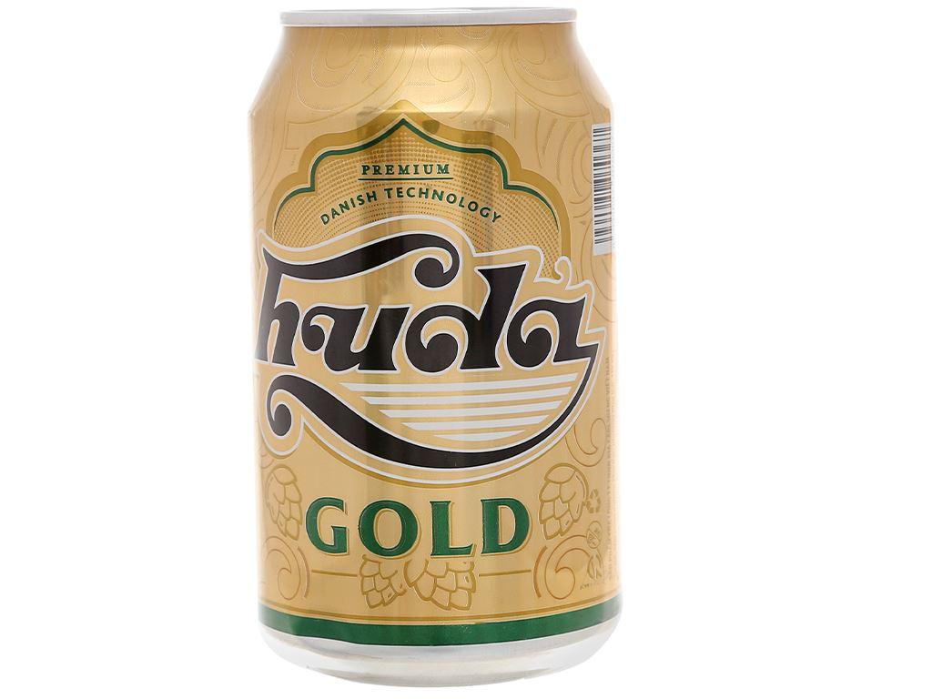 6 lon bia Huda Gold 330ml 2